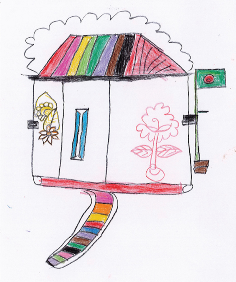 Figure 3 A drawing by a 12-year-old girl made as a response to the question what does home look and feel like (Courtesy of IOM Cox's Bazar)